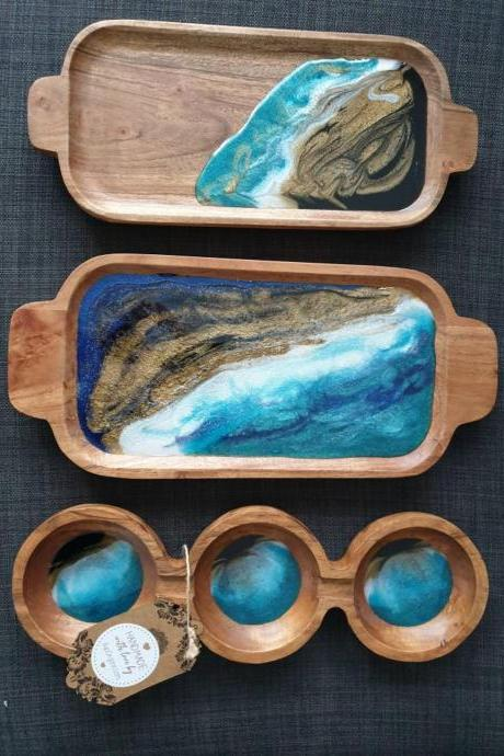 Serving Wooden Tray Beach Resin Art Work (3 Bowl Tray)